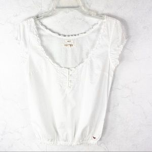 [Hollister] White Short Sleeved Button Top